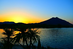 Sunset over Sea Bay (petrk747) Tags: alcudia mallorca balearicislands spain palm reflection outdoor nature sunset sunrise sea water tree mountain caviardreams saariysqualitypictures countryside nikon nikond500 shot image evening blue bluesky