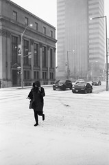 "The Ice Storm series: Crossing Alone (Xsbmrnr (Please read profile before ""following"") Tags: acros100 acros blackandwhite bandw downtown 35mm 35mmfilm film filmphotography hamilton hamiltonontario hamont hc110 ice olympusom1 olympus om1 street streetphotography urban urbanphotography zuiko zuiko35mm"