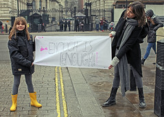 Enough is Enough (Mick Steff) Tags: enough is london demo demonstration yellow wellies police group talking urban street people road sign