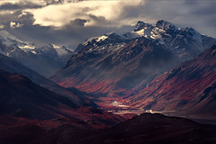 Epemeral Glow (Foto Fresh) Tags: mountain range dark gloomy stormy coulds fall autumn patagonia southamerica argentina santacruz fitzroy elchalten sunrays valley river photoshop landscape luminosity cloning marcadamus lasvueltas sony a7r3 a7riii telephotolens longlens 200mm 100400mm supertelephoto