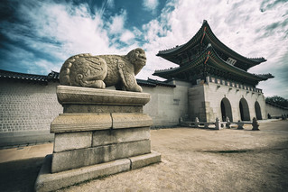 Gyeongbokgung Palace  with blue sky and clouds at Seoul city, South Korea.