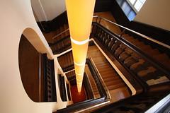 Yellow beam (Elbmaedchen) Tags: staircase stairwell stufen treppenhaus treppe architektur architecture hotel berlin beam hängelampe wooden