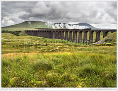 Steam Train Crossing the Ribblehead Viaduct in the Yorkshire Dales (© Mark Sunderland www.marksunderland.com) Tags: 46115 arch arches architecture badweather bridge britain britishisles britishrailways clouds cloudy countryside darkclouds darksky england europe gatheringclouds gb greatbritain greyclouds greysky ingleborough lmsroyalscotclass locomotive northyorkshire overcast parkfell railway railwaybridge railwayline ribblehead ribbleheadviaduct scotsguardsman simonfell steamlocomotive storm stormclouds stormy transport travel uk unitedkingdom viaduct victorian weather yorkshire yorkshiredales yorkshirethreepeaks