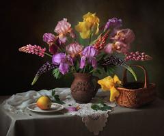 Still-life with flowers of irises and lupine (Tatyana Skorokhod) Tags: stilllife flowers bouquet irises lupine