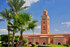 Mosquée Koutoubia, Marrakech (Voyages Lambert) Tags: koutoubiamosque travel buildingexterior medinadistrict minaret praying islam religion journey blue famousplace architecture traveldestinations urbanscene tourist marrakesh morocco sky mosque monument tower city cityofcenter kutubiyya