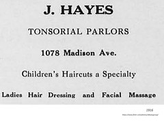 j, Hayes  tonsorial parlor  1078  Madison ave 1916 (albany group archive) Tags: early 1900s barber shop hair salon pine hills old albany ny vintage photos picture photo photograph history historic historical