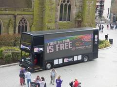 Black bus in St Martin's Square at the Bullring (ell brown) Tags: bullring birmingham westmidlands england unitedkingdom greatbritain stmartinssquare stmartinschurch stmartininthebullring bus bjsbingo blackbus gonortheast dennistrident everyonesawinner