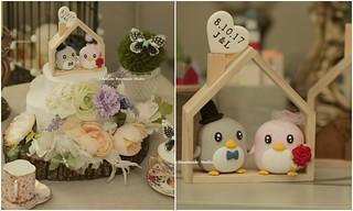 Special Edition,penguin with handmade miniatures, cute animals wedding cake decor ideas