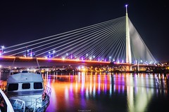 Night Scene (goran_protic) Tags: bridge reflection belgrade serbia beograd srbija river sava adabridge mostnaadi
