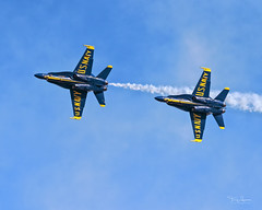 United States Navy Blue Angels #4 Slot position piloted by LCDR. Nate Scott with Blue Angels #6 Opposing Solo piloted by LT. Brandon Hempler closely following at the 2018 Luke Days, Luke Air Force Base (Hawg Wild Photography) Tags: 2018lukedays lukeairforcebase usn aviaiton united states navy blue boeing fa18c air show terrygreen hawg wild photography angels 6 opposing solo lt brandon hempler 4 slot lcdr nate scott