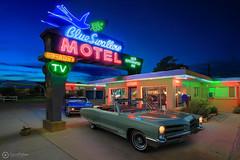 Blue Swallow Motel (The Fishbone) Tags: newmexico route66 neon americana pontiac bonneville gto convertible 1966 blueswallow