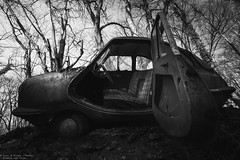 The Jetsons (Dennis van Dijk) Tags: urbex ue eu europe germany urban exploration car cars classic bw blackandwhite black white vintage retro forest precious beauty moody rust lost found decay derelict abandoned rotten left behind american