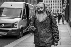 Hometime (Leanne Boulton) Tags: urban street candid portrait portraiture streetphotography candidstreetphotography candidportrait streetportrait eyecontact candideyecontact streetlife man male face eyes look mood emotion feeling beard style tone texture detail depthoffield bokeh naturallight outdoor light shade city scene human life living humanity society culture people canon canon5d 5dmkiii 70mm ef2470mmf28liiusm black white blackwhite bw mono blackandwhite monochrome glasgow scotland uk