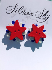 Patriotic Star Button Earring Red White Blue Nickel Free USA July 4th by SilverSkyByJanet (janetdmorris) Tags: etsy crafts shopping patriotic star button earring red white blue nickel free usa july 4th by silverskybyjanet
