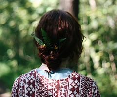 ferns and flowers in the hair (Faerye.) Tags: girl ginger hair curly fern ferns flower flowers nature forest woodland woods