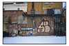 WHITECHAPEL WALLS. (StockCarPete) Tags: london eastlondon tags graffiti wild londonlettering fireescape stairs brickwork snow winter walls londonwalls whitechapel airconditioner rust