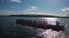 Rowing a church boat, Finland (FinlandCottageRentals) Tags: finland sysmä churchboat longboat nordic cottageholiday