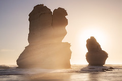 Golden Stacks || GIBSON'S BEACH || GREAT OCEAN ROAD (rhyspope) Tags: australia aussie vic victoria great ocean road greatoceanroad gog magog gibson gibsons steps beach sunrise sunset sea marine holiday travel rays sun amazing warm warmth rhys pope rhyspope canon 5d mkii gor silhouette seastack stack seaspray oceanspray spray mist