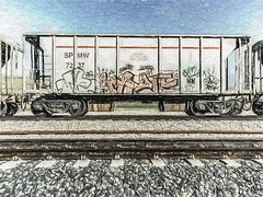 On Track (p) (davidseibold) Tags: america benaroad california graffiti jfflickr kerncounty painting photosbydavid postedonflickr railroadcar railroadtrack rock sky unitedstates usa bakersfield