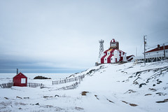 Stripped Beacon (Aymeric Gouin) Tags: canada newfoundland terreneuve snow neige winter hiver white blanc phare lighthouse sea mer ocean atlantic atlantique landscape paysage paisaje landschaft seascape ice glace cold froid travel voyage fujifilm xt2 aymgo aymericgouin