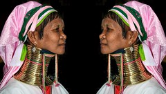 Reflections (Luc1659) Tags: riflessi women womangiraffe pink birmania myanmar kayan