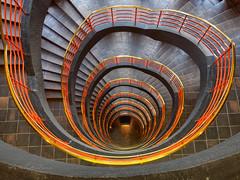 Hamburg - Up and down the stairs (Karsten Gieselmann) Tags: 714mmf28 braun deutschland em5markii germany hamburg mzuiko microfourthirds olympus orange sprinkenhof treppe brown kgiesel m43 mft staircase stairs