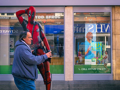 P1001179 (sven804) Tags: panasonicgx9 colour red blue green urban urbanphotography urbanwales urbanandstreet street streetphotography streetphotographer streetlife streetsnappers deadpool marvel rhyl denbighshire