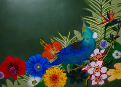 The Tui (Steve Taylor (Photography)) Tags: flox tui bird art graffiti mural stencil streetart green blue orange red paint newzealand nz southisland canterbury christchurch city leaves flower festival poppy spectrum ymca