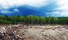 Simonette River, Alberta Canada (Kelly - McLaughlin) Tags: canada alberta simonetteriver river clouds sky trees landscape rivervalley riverbanks weather rain green blue flood driftwood