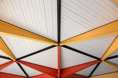 Park Ceiling (josullivan.59) Tags: 2017 artistic canada canon6d may ontario ottawa abstract architecture canonef24105mmf4lisusm colors detail geometric interior light minimalism orange park red texture wallpaper white yellow
