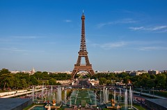 The Eiffel Tower (david.maraba) Tags: eiffel tower paris architecture france place blue sky famous travel destinations tourism urban built scene structure europe green day horizontal symbol grass tall outdoors scenics cloud landmark city vacations monument tree western history people tourist color french angle romance image large idyllic cityscape national spring iron culture weekend getaway background russianfederation