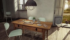..::THOR::..The Simple Things Set - FaMESHed Event - May Round - 6th Anniversary (andraus thor) Tags: table food bread pomegranate lemon choppingboard herbs tile knife onion garlic chair dinette dining country old vintage simple things thor furnitures metaverse secondlife 3d mesh
