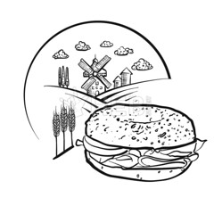 Bagel and Farm Logo Sketch. Vector label sign. (Hebstreits) Tags: agriculture background badge bagel bakehouse bakery bread building design element emblem etching farm farming field flour food grain graphic harvest icon illustration isolated label landscape logo logotype mill nature old organic propeller retro rural sign silhouette sticker symbol template traditional vector village vintage wheat wind windmill