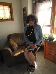 Just A Quiet Saturday Afternoon At Home (Laurette Victoria) Tags: jacket denim skirt sunglasses curly brunette laurette woman