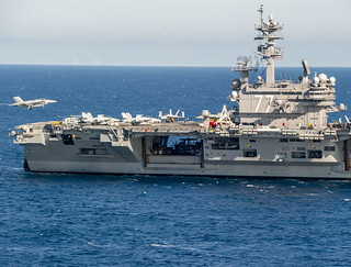 USS George H.W. Bush conducts flight operations in the Atlantic Ocean.