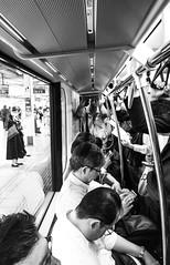 #136 Rush hour (tokyobogue) Tags: tokyo japan nexus6p nexus blackandwhite blackwhite monochrome 365project flickrfriday rush rushhour commute train people crowd