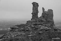 Pillars of Scottsbluff (kevin-palmer) Tags: may spring nikond750 cloudy overcast nebraska scottsbluff scottsbluffnationalmonument nationalmonument oregontrail blackandwhite monochrome tamron2470mmf28 fog foggy panhandle sandstone pillars rockformation