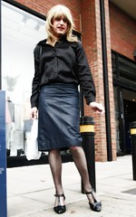 Out Shopping (Amber :-)) Tags: navy leather pencil skirt tgirl transvestite crossdressing