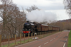 Steam on the Kyle line (Andrew Edkins) Tags: 1264 lner b1class steamtrain railwayphotography travel thegreatbritainxi 2018 spring trip geotagged canon april 460 mainlinesteam scotland uksteam light lochgarve overcast morning