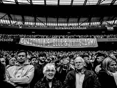 Guardiola's Blue and White Army (bobbex) Tags: etihad etihadstadium guardiola mcfc manchestercity mancity crowd sport soccer epl premierleague englishpremierleague footballfans football blackandwhite blackwhite bw faces