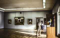 Something happening in the other gallery. The Hermitage. Matisse room. (amy buxton) Tags: russia stpetersburg sovietunion pentaxk1000 film thehermitage winterpalace familyoftheartist matisse