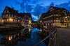 Strasbourg riverside (Dan_Fr) Tags: strasbourg france twilight bluehour dusk houses timbered longexposure blending rayapro traditional clouds river petite lights city cityscape reflection maison sony a7r architecture travel
