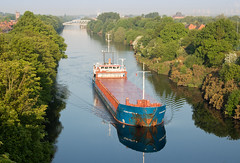 Fehn Capella 02 may 18 (Shaun the grime lover) Tags: warrington reflection ship water manchestershipcanal stocktonheath cantilever bridge latchford vessel fehncapella morning