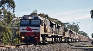 SCT003+SCT012+SCT011+CSR007+CSR010 with SCT train #4PM9 near Stawell, Vic