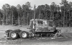 Burned-out Truck B&W Film version ICCD (Neal3K) Tags: bw blackandwhite d76developer fpp200film filmphotographyproject henrycountyga georgia iccd2018
