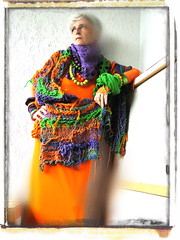 Butterflies with paper wings gliding on nature´s soft breath (MizzieMorawez) Tags: tunic top dress jacket scarf wrap freeformsculpture endlesswearingoptions colorful mixedmaterials intuitive fashioncomedy wallhanging arttowear ooak performance catwalkwithmizzie
