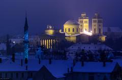 Eger (Laszlo Horvath.) Tags: eger hungary winter snow blue hour basilica crusiade nikond7100 carlzeisssonnarf4135mm