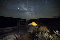 Camping in the Mojave National Preserve (magnetic_red) Tags: tent camping outdoors night sky milkyway lightpaining mojavenationalpreserve nightscape desert