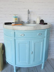 5. Barbie's bathroom sink (Foxy Belle) Tags: sink how make over doll barbie plastic dresser white marble blue robins egg chalk spray paint tutorial diorama dollhouse room bathroom furniture