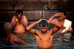 "Men Bathing & Praying In The Ganges, Varanasi (El-Branden Brazil) Tags: varanasi india indian ganges ganga ceremony hindu hinduism asian asia sacred holy mystical ""south asia"" sadhu"